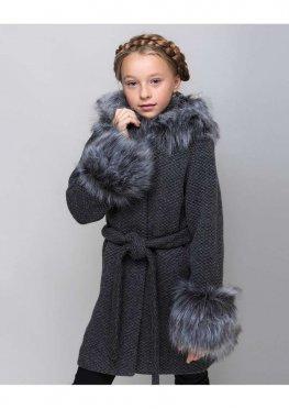 Зимнее пальто для девочки Чернобурка