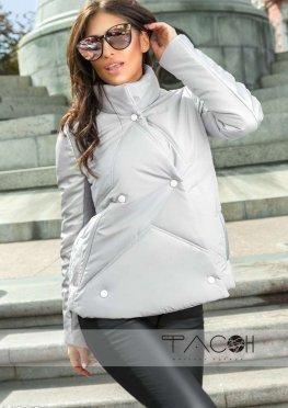 Куртка с кожаными рукавами