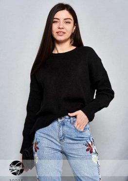 Вязаный свитер асимметричной длины