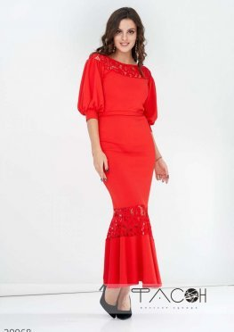 Платье миди декорированное гипюром