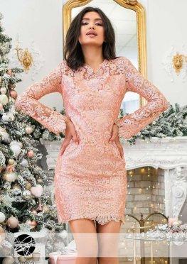 Платье мини с кружевом расшитым пайеткой