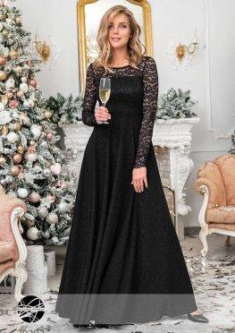 Платье макси с блестками и гипюром