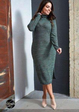 Облегающее платье миди с воротом
