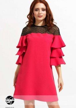 Платье с сетчатой вставкой в фактурный горошек