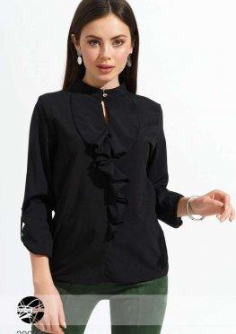 Блуза с вырезом-капелькой и оборкой