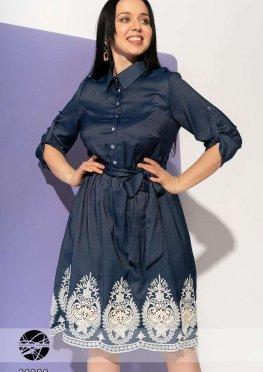 Джинсовое платье с кружевной отделкой