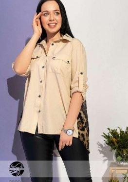 Асимметричная блуза с леопардовой вставкой
