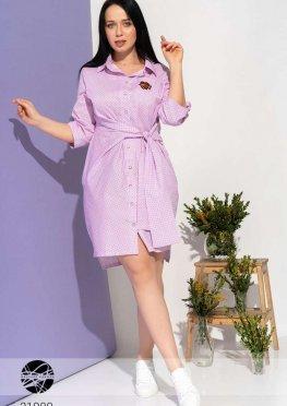 Асимметричное платье-рубашка с запахом и завязкой