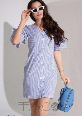 Платье-рубашка с воланами на рукавах