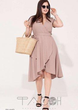 Льняное платье с запахом и асимметричным краем