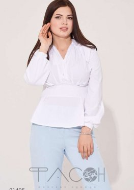 Блуза с баской и объёмными рукавами