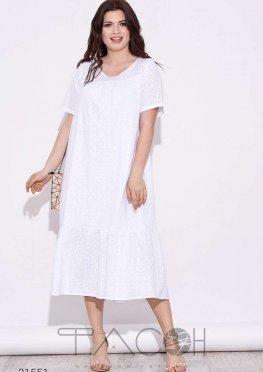 Платье миди с вышивкой ришелье и оборками