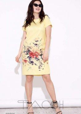 Льняное платье-футляр с цветочным принтом
