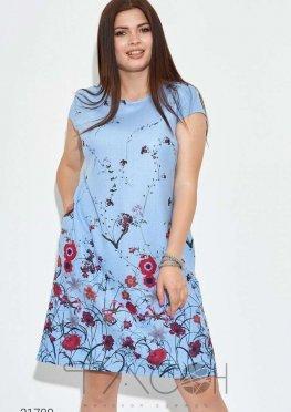 Льняное платье-трапеция с цветочным принтом