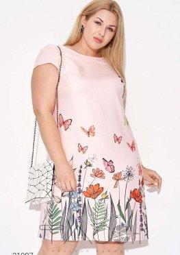 Льняное платье с цветочным принтом