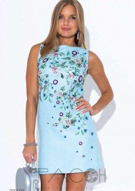 Льняное платье мини с цветочным принтом