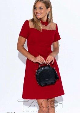 Платье мини с сетчатой вставкой