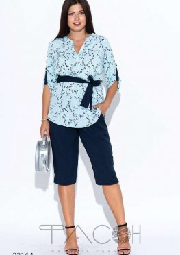 Комплект из блузы с принтом и бридж