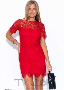 Платье мини из гипюра