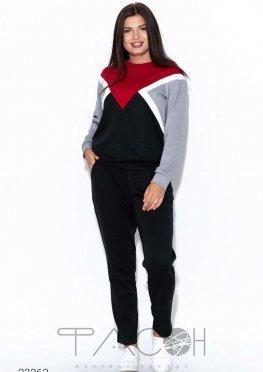 Спортивный костюм в стиле колор блок из свитшота и джоггеров
