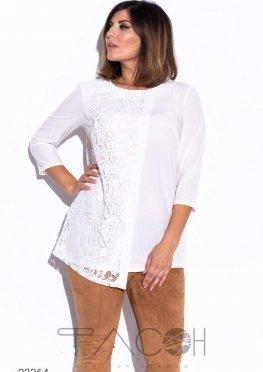 Блуза со вставкой из кружева
