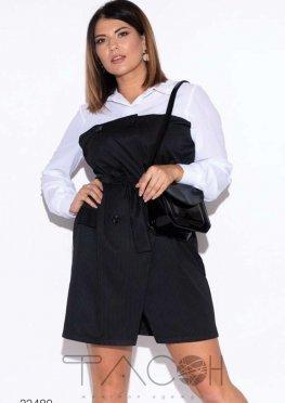 Платье-рубашка с принтом в полоску