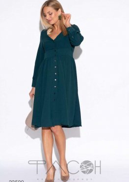 Свободное платье на пуговицах с оборками