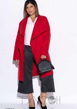 Кашемировое пальто с запахом и широкими лацканами