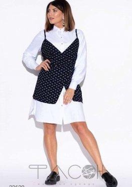 Комплект из жилета и платья-рубашки