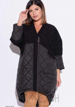 Пальто из комбинированных материалов