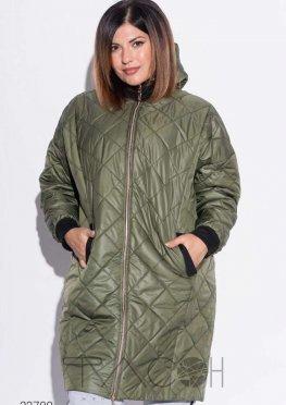Свободная стёганая куртка с капюшоном