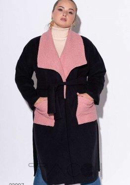 Кашемировое пальто с запахом и вставками из букле