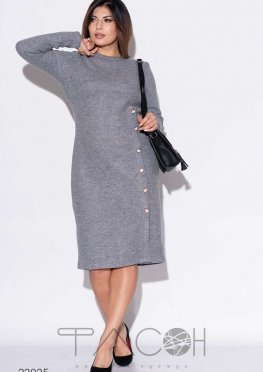 Платье миди с декоративной планкой из пуговиц