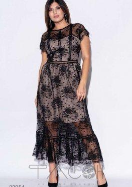 Кружевное платье миди с оборками