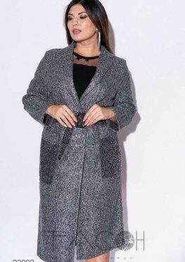 Пальто миди из букле с накладными карманами