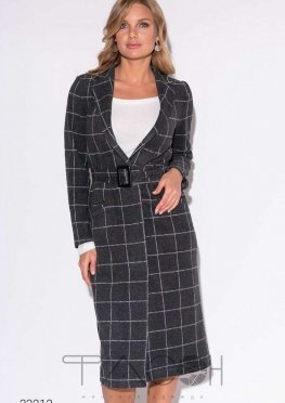 Кашемировое пальто с принтом в клетку и поясом