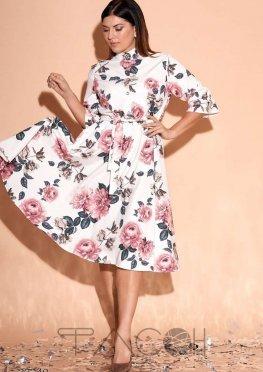 Платье с воротом-стойкой и цветочным принтом