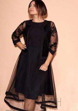 Комплект из платья и сетчатого жакета с фактурным принтом