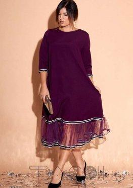 Платье миди с сетчатыми оборками по нижнему краю