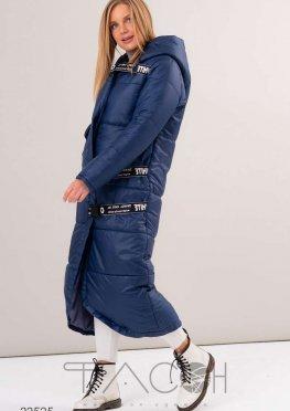 Дутая длинная куртка с асимметричным нижним краем