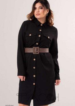 Платье-рубашка с ремнём из экокожи