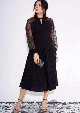 Платье А-силуэта с сетчатыми рукавами реглан
