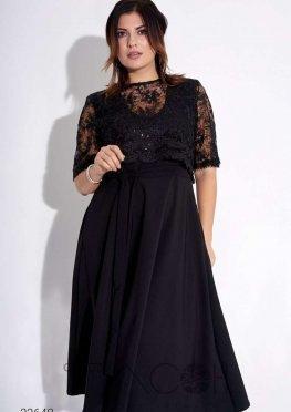 Платье миди с кружевной накидкой