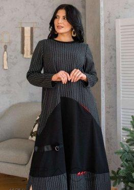 Шерстяное платье миди с принтом в полоску