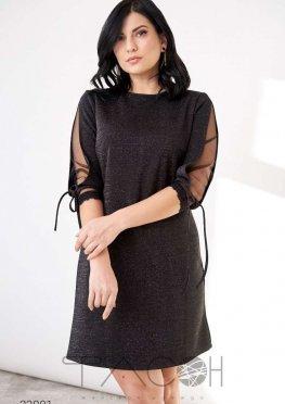 Платье мини из люрекса с рукавами с завязками