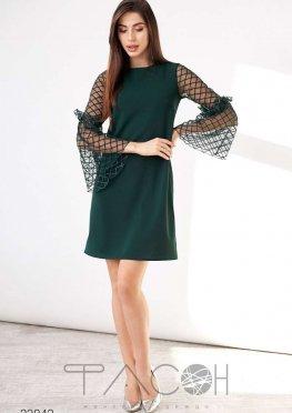 Платье с сетчатыми рукавами клёш