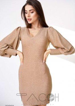 Платье мини из люрекса с объёмными рукавами