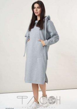 Утепленное платье-худи с накладным карманом