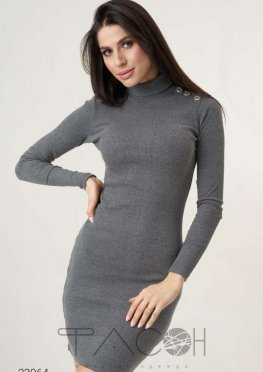 Платье-водолазка мини в рубчик