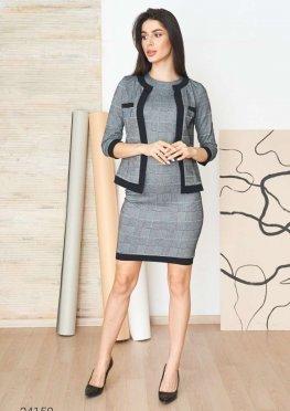 Комплект из платья и жакета с контрастной отделкой